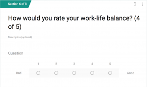 One question from our survey, about work/life balance.