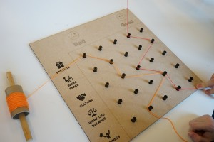 The bad/good prototype; it is a wooden board with 25 plastic pegs arranged in a 5*5 grid. Rows are used to represent topics; columns are used to assign a score. Two threads lead between the pegs, representing answers.