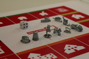 The board for Data Zap with Monopoly pawns